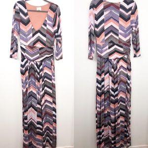 Anthropologie Maeve Purple Chevron Maxi Dress